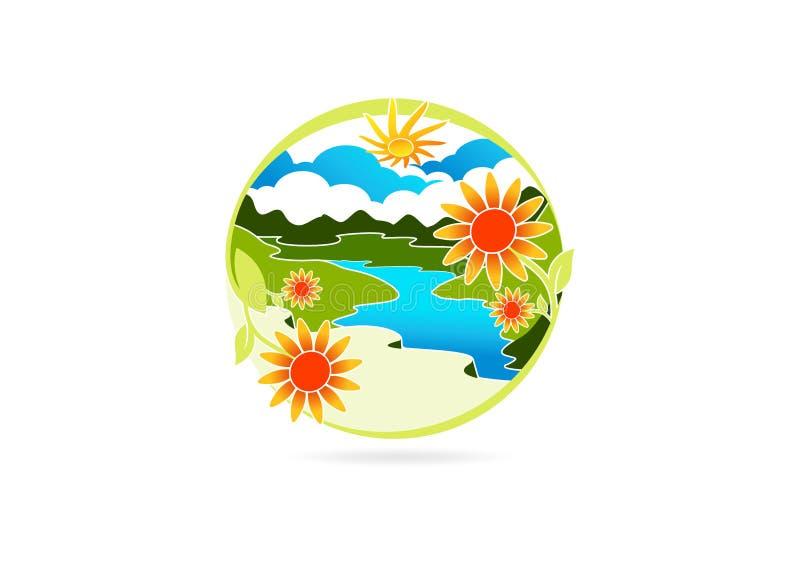 Λογότυπο ποταμών, σύμβολο φύλλων λουλουδιών, εικονίδιο βουνών φύσης, σχέδιο έννοιας τοπίων απεικόνιση αποθεμάτων