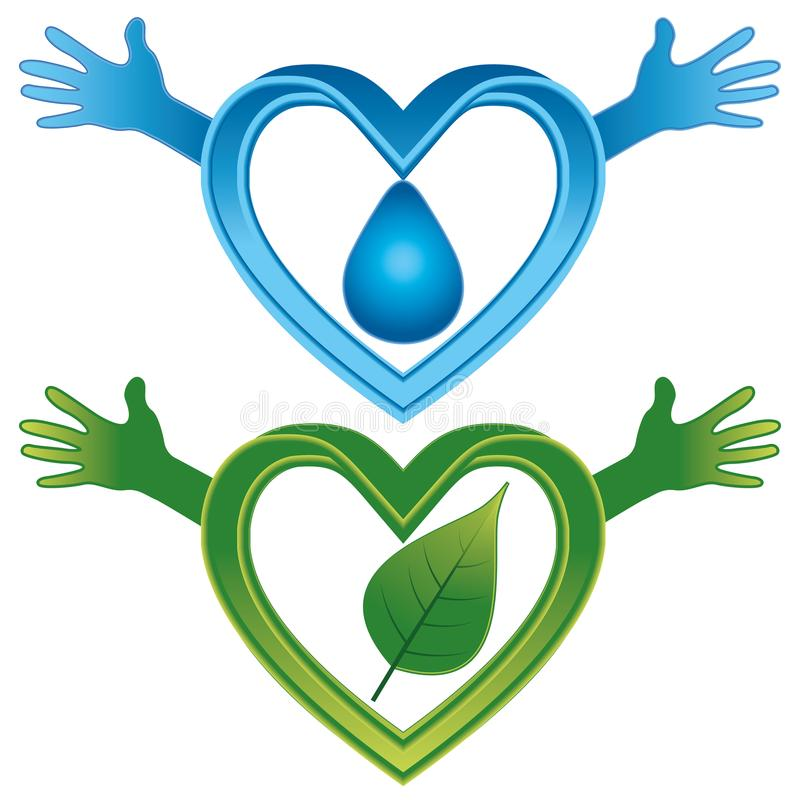 Λογότυπο που συμβολίζει το νερό και τη φύση ελεύθερη απεικόνιση δικαιώματος