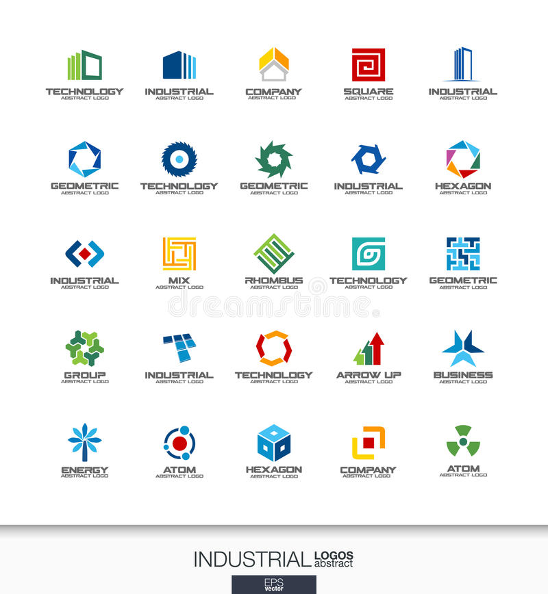 Λογότυπο που τίθεται αφηρημένο για την επιχειρησιακή επιχείρηση Κατασκευή, βιομηχανία, architectureconcepts Η εργασία, μηχανικός, διανυσματική απεικόνιση