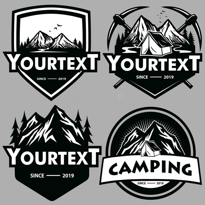 Λογότυπο που τίθεται για την περιπέτεια βουνών, στρατοπέδευση, που αναρριχείται στην αποστολή Εκλεκτής ποιότητας διανυσματικές λο ελεύθερη απεικόνιση δικαιώματος