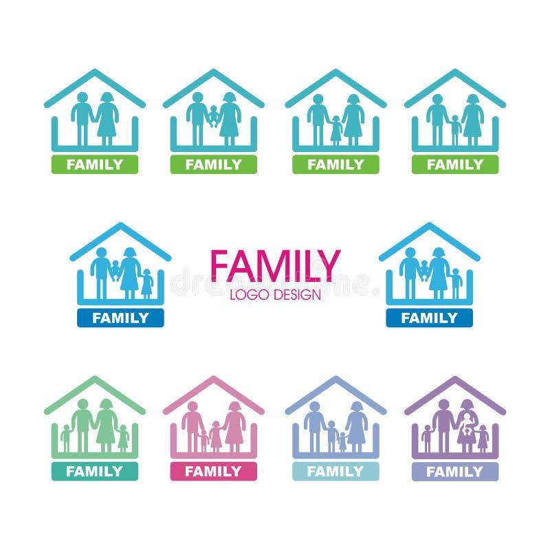 Λογότυπο που τίθεται οικογενειακό με πολλή παραλλαγή διανυσματική απεικόνιση