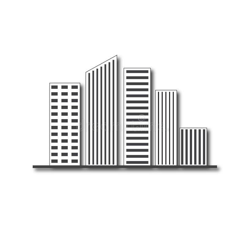 Λογότυπο πολυόροφων κτιρίων ακίνητων περιουσιών σχεδίου αρχιτεκτονικής κτηρίων απεικόνιση αποθεμάτων