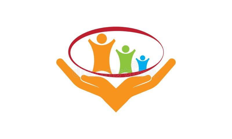Λογότυπο προσοχής - διανυσματικά πρότυπο και χέρια λογότυπων οικογενειακής προσοχής ελεύθερη απεικόνιση δικαιώματος