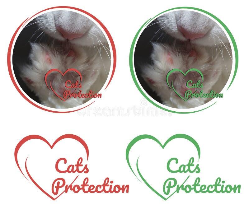 Λογότυπο προστασίας γατών με την άσπρη γάτα ποδιών για τις φιλανθρωπικές οργανώσεις στοκ φωτογραφίες