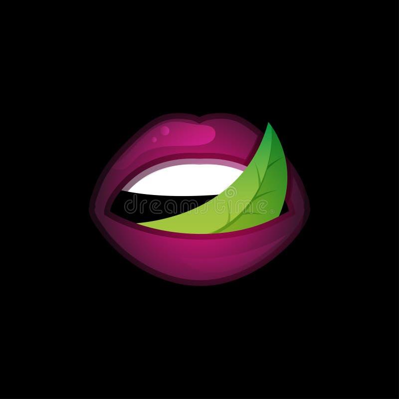 Λογότυπο προτύπων έννοιας με τα χείλια και το φύλλο ελεύθερη απεικόνιση δικαιώματος