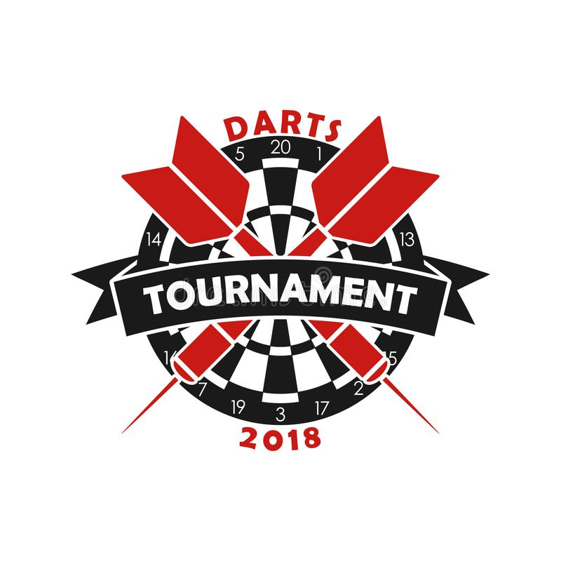Λογότυπο πρωταθλημάτων βελών Πρότυπο για το έμβλημα αθλητικού πρωταθλήματος με το βέλος, dartboard και την κορδέλλα διάνυσμα απεικόνιση αποθεμάτων