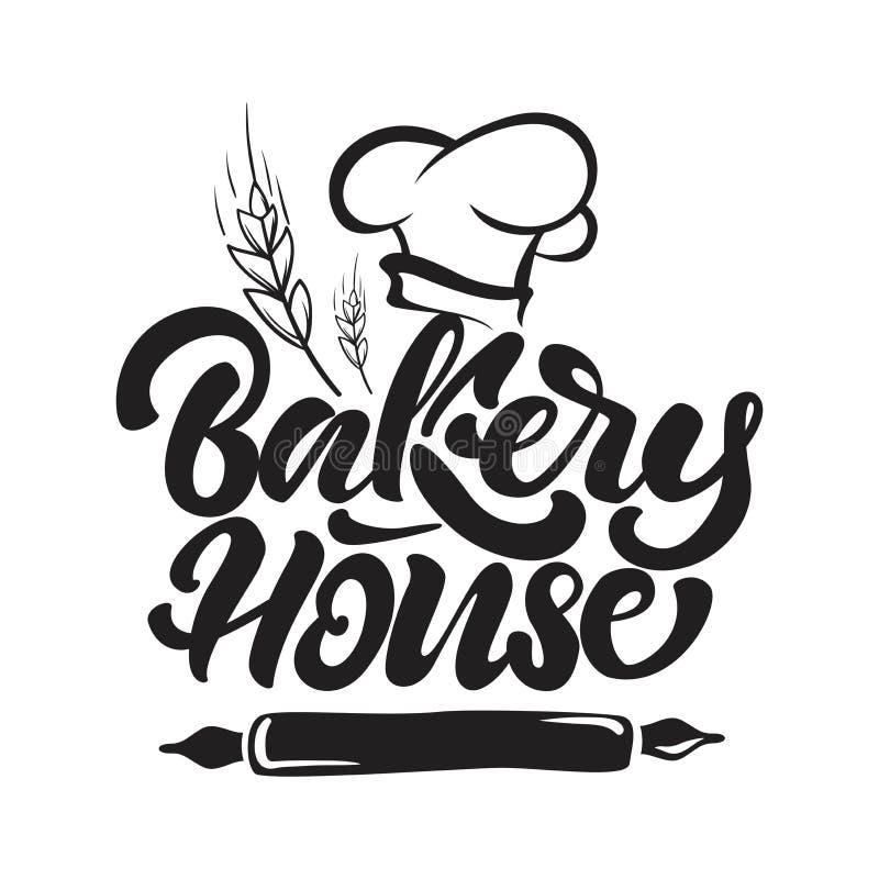 Λογότυπο σπιτιών αρτοποιείων στο ύφος εγγραφής με το καπέλο του αρχιμάγειρα, τα δημητριακά και την κυλώντας καρφίτσα r ελεύθερη απεικόνιση δικαιώματος
