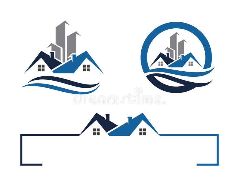 Λογότυπο σπιτιών και οικοδόμησης ελεύθερη απεικόνιση δικαιώματος