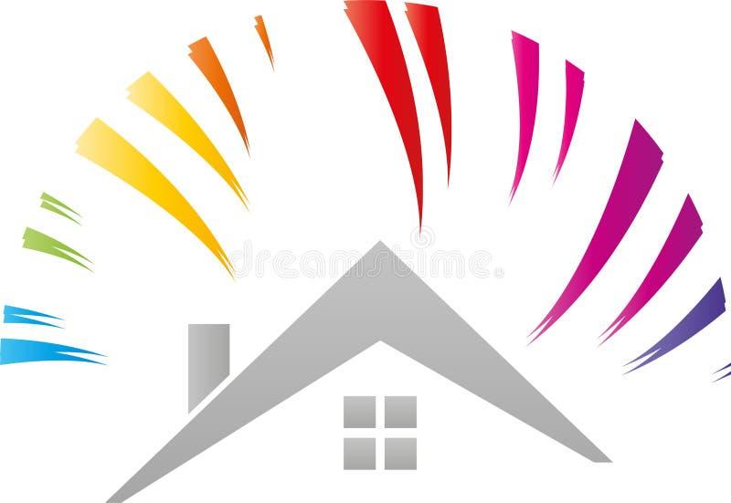 Λογότυπο σπιτιών και ουράνιων τόξων, ήλιων, ζωγράφων και βιοτεχνών στοκ εικόνες