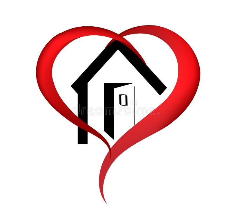 Λογότυπο σπιτιών καρδιών απεικόνιση αποθεμάτων