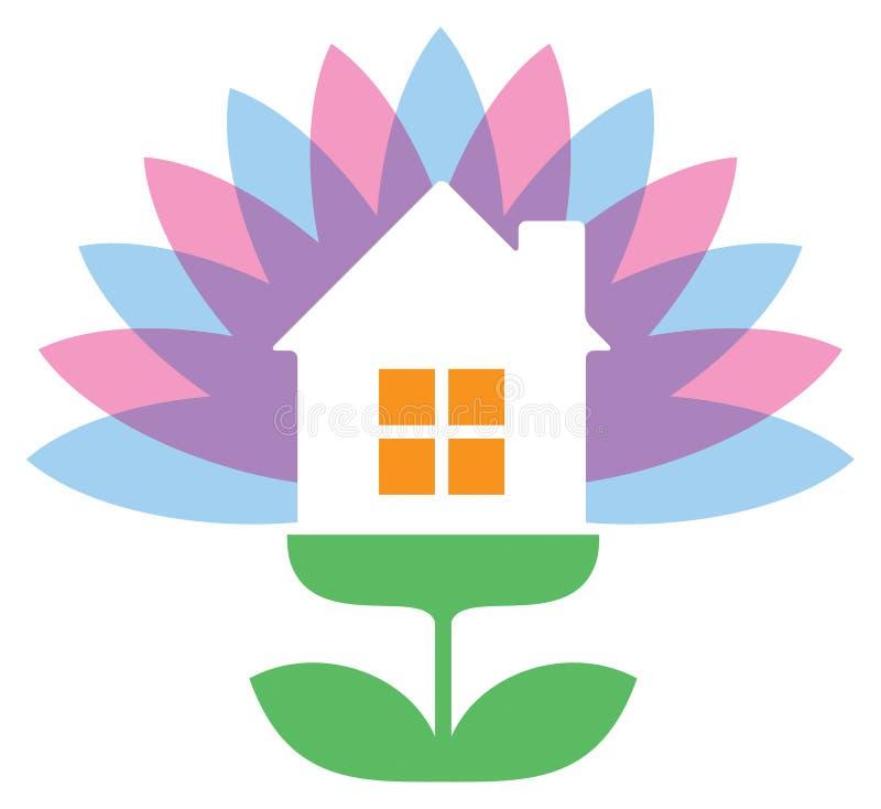 Λογότυπο σπιτιών λουλουδιών απεικόνιση αποθεμάτων