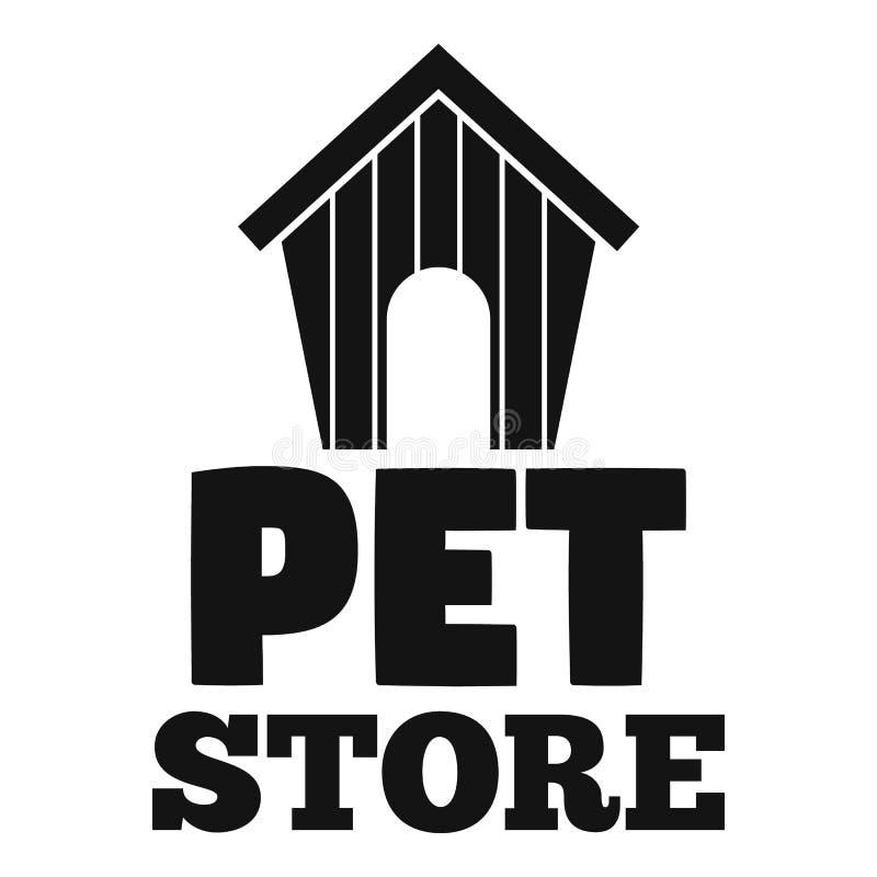Λογότυπο σπιτιών σκυλιών καταστημάτων της Pet, απλό ύφος απεικόνιση αποθεμάτων