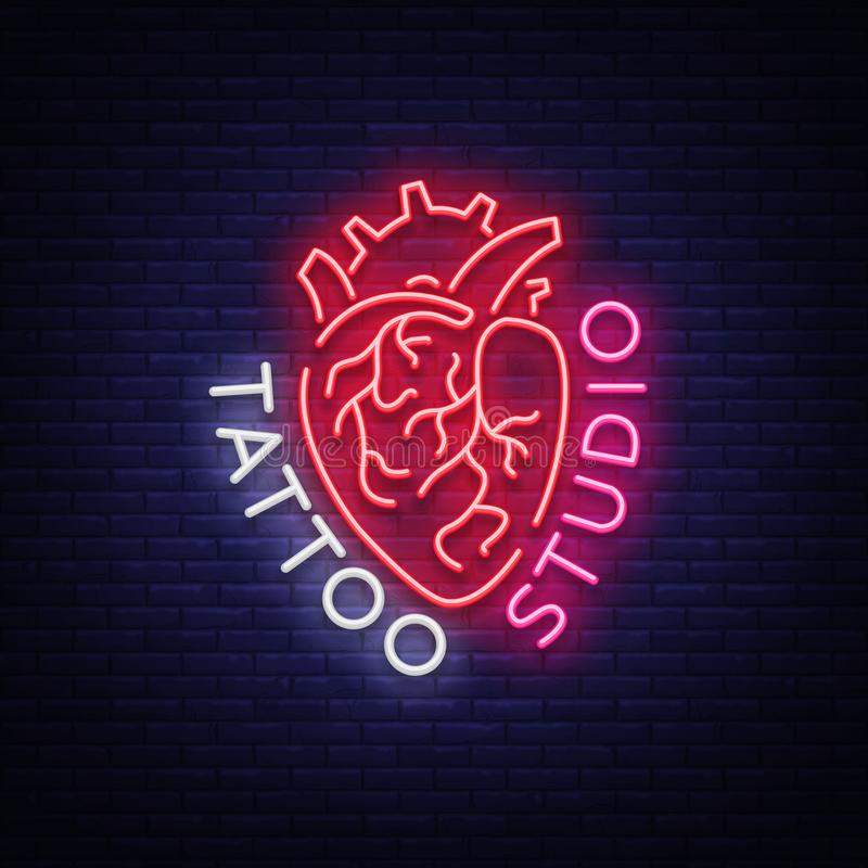 Λογότυπο στούντιο δερματοστιξιών, σημάδι νέου, σύμβολο της ανθρώπινης καρδιάς, φωτεινοί πίνακες διαφημίσεων, έμβλημα νύχτας, φωτε απεικόνιση αποθεμάτων