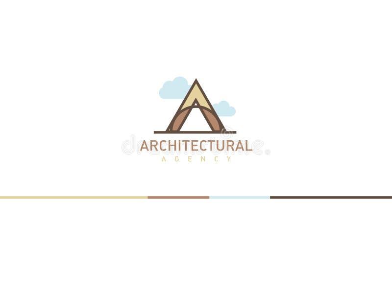 Λογότυπο στο θέμα της αρχιτεκτονικής Γραμμικό γράμμα Α με τα σύννεφα διανυσματική απεικόνιση