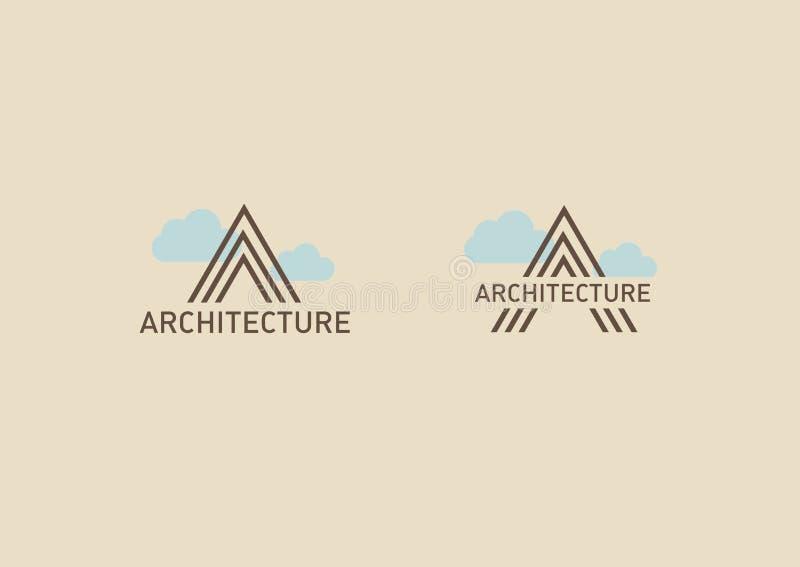 Λογότυπο στο θέμα της αρχιτεκτονικής Γραμμικό γράμμα Α με τα σύννεφα ελεύθερη απεικόνιση δικαιώματος
