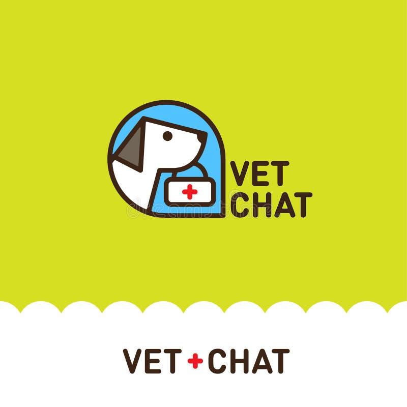 Λογότυπο συνομιλίας κατοικίδιων ζώων Κτηνιατρικά εμβλήματα κατοικίδιων ζώων Ζωική κλινική διανυσματική απεικόνιση