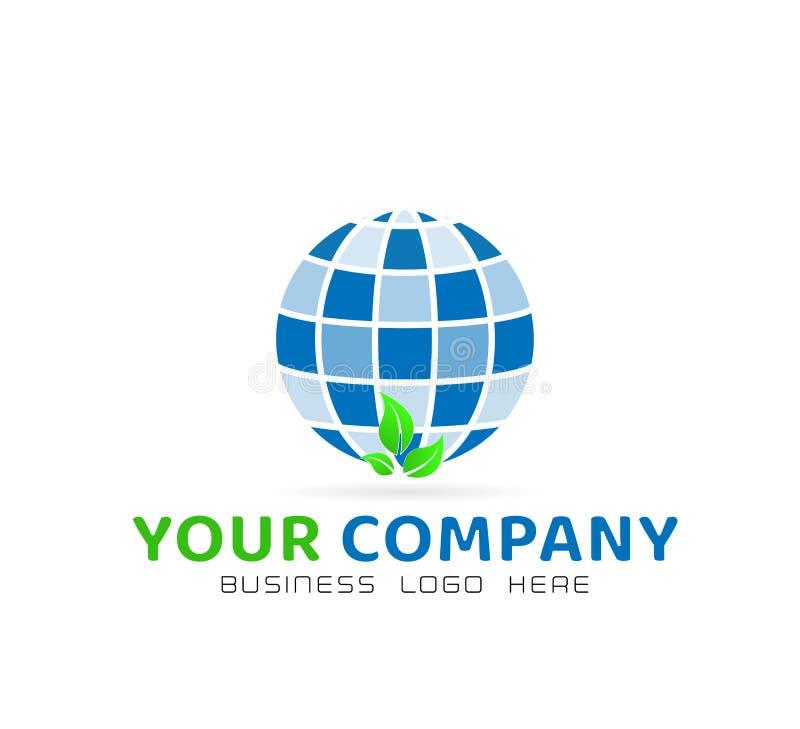 Λογότυπο σφαιρών και στοιχείο εικονιδίων με το διάνυσμα έννοιας eco στο άσπρο υπόβαθρο ελεύθερη απεικόνιση δικαιώματος