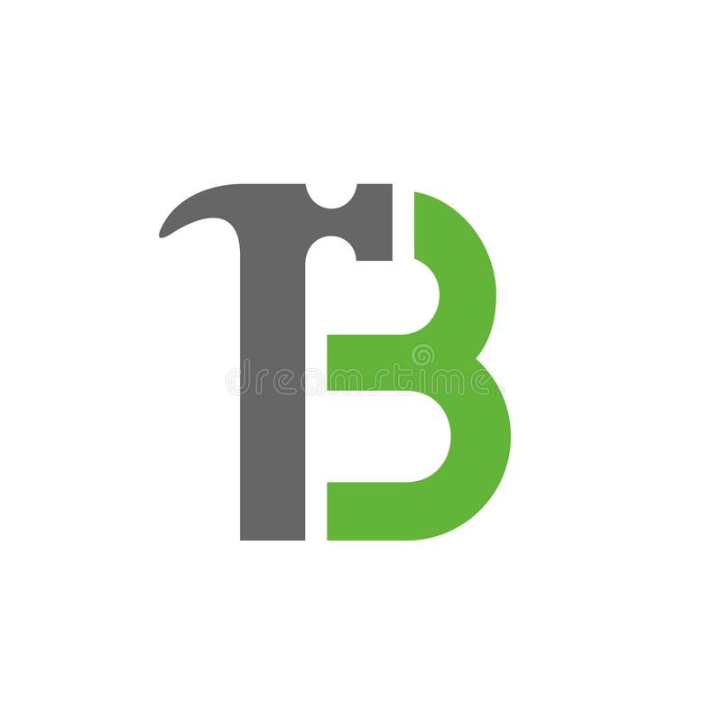 Λογότυπο σφυριών γραμμάτων Β, λογότυπο επισκευής σπιτιών, εγχώρια βελτίωση, εικονίδιο ανακαίνισης διανυσματική απεικόνιση