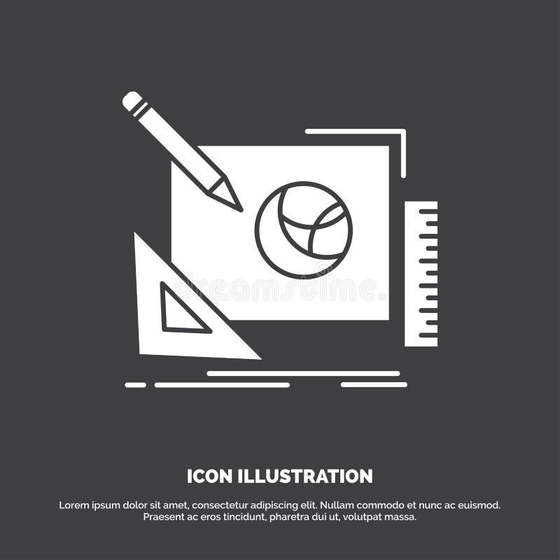 λογότυπο, σχέδιο, δημιουργικό, ιδέα, εικονίδιο διαδικασίας σχεδίου glyph διανυσματικό σύμβολο για UI και UX, τον ιστοχώρο ή την κ διανυσματική απεικόνιση