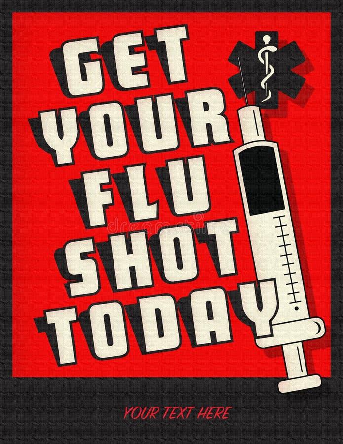 Λογότυπο τέχνης ιπτάμενων ειδοποίησης αφισών εμβολίων γρίπης απεικόνιση αποθεμάτων
