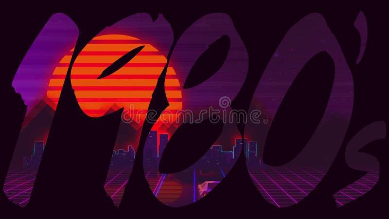 λογότυπο τίτλου δεκαετίας του '80 της δεκαετίας του '80 με ένα αναδρομικό γεμισμένο παιχνίδι στον υπολογιστή κείμενο ελεύθερη απεικόνιση δικαιώματος