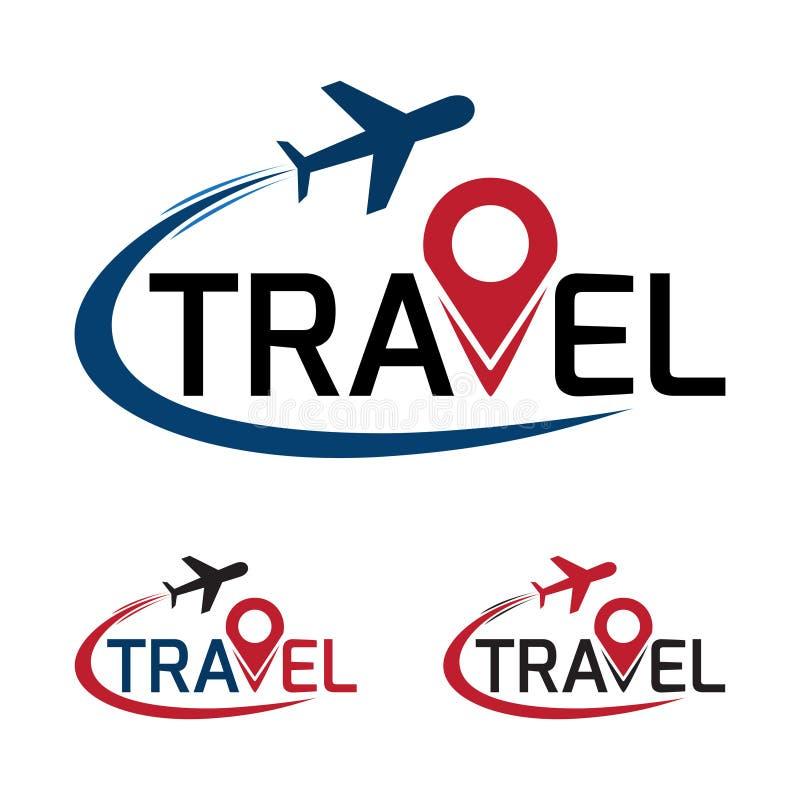 Λογότυπο ταξιδιού που έχει ένα αεροπλάνο που πετά γύρω από το κείμενο ταξιδιού διάνυσμα διανυσματική απεικόνιση