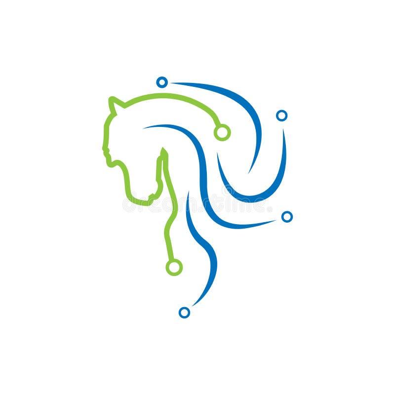 Λογότυπο τεχνολογίας αλόγων Αφηρημένο λογότυπο τεχνολογίας διανυσματική απεικόνιση