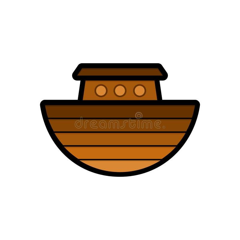 Λογότυπο της κιβωτού του Νώε Σκάφος για να διασώσει τα ζώα και τους ανθρώπους από την πλημμύρα Βιβλική απεικόνιση διανυσματική απεικόνιση