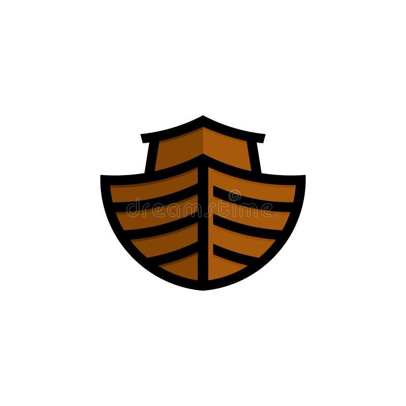 Λογότυπο της κιβωτού του Νώε Σκάφος για να διασώσει τα ζώα και τους ανθρώπους από την πλημμύρα Βιβλική απεικόνιση ελεύθερη απεικόνιση δικαιώματος