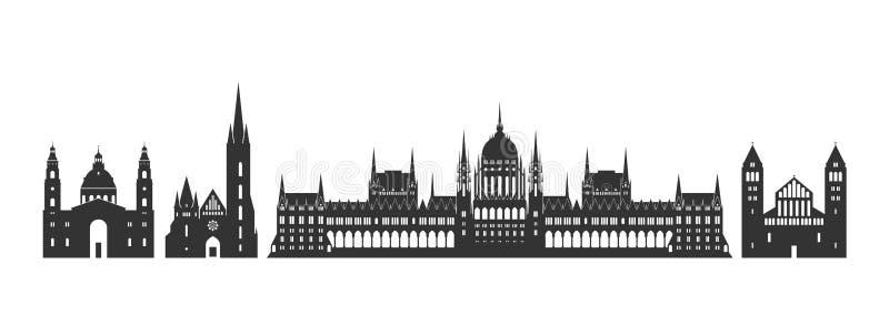 Λογότυπο της Ουγγαρίας Απομονωμένη ουγγρική αρχιτεκτονική στο άσπρο υπόβαθρο διανυσματική απεικόνιση