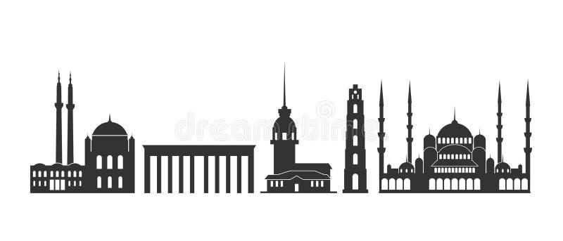 Λογότυπο της Τουρκίας Απομονωμένη τουρκική αρχιτεκτονική στο άσπρο υπόβαθρο ελεύθερη απεικόνιση δικαιώματος