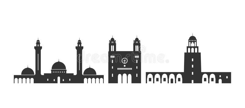 Λογότυπο της Τυνησίας Απομονωμένη αρχιτεκτονική της Τυνησίας στο άσπρο υπόβαθρο απεικόνιση αποθεμάτων