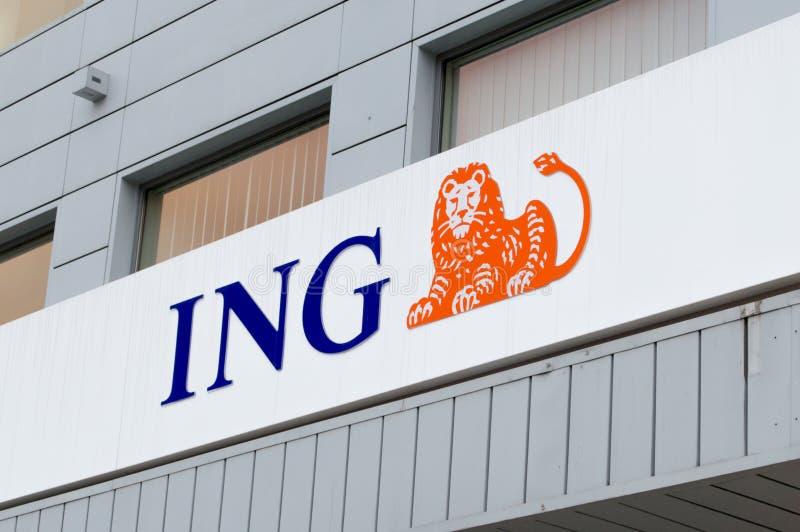 Λογότυπο της ING Bank επάνω από μια είσοδο κλάδων στο Γντανσκ στοκ φωτογραφίες με δικαίωμα ελεύθερης χρήσης