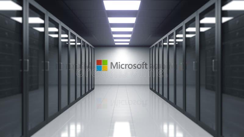 Λογότυπο της Microsoft στον τοίχο του δωματίου κεντρικών υπολογιστών Εκδοτική τρισδιάστατη απόδοση διανυσματική απεικόνιση