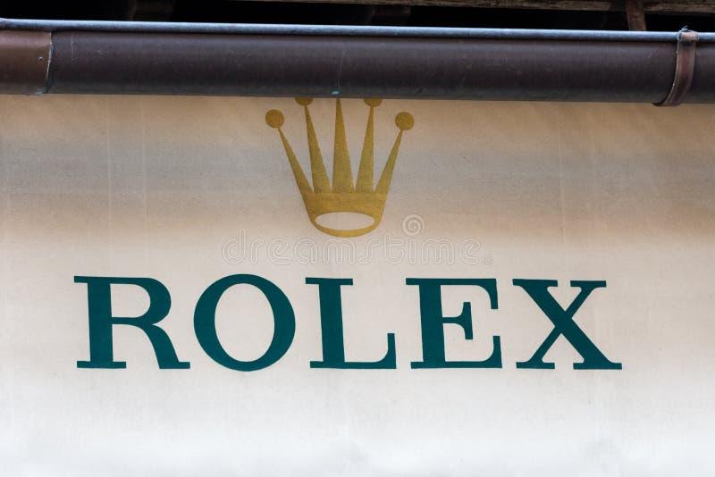 Λογότυπο της Rolex στο κατάστημα της Rolex στοκ εικόνα με δικαίωμα ελεύθερης χρήσης