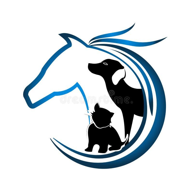 Λογότυπο του αλόγου, του σκυλιού και της γάτας διανυσματική απεικόνιση