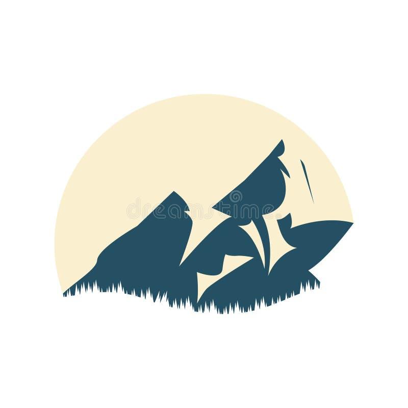 Λογότυπο του βουνού για το χειμερινό αθλητισμό ακραίος αθλητισμός επίσης corel σύρετε το διάνυσμα απεικόνισης ελεύθερη απεικόνιση δικαιώματος