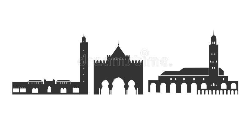 Λογότυπο του Μαρόκου Απομονωμένη μαροκινή αρχιτεκτονική στο άσπρο υπόβαθρο απεικόνιση αποθεμάτων