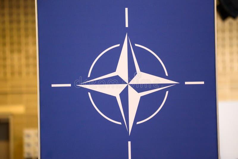 Λογότυπο του Οργάνωση της Συνθήκης του Βορείου Ατλαντικού του ΝΑΤΟ στοκ φωτογραφία με δικαίωμα ελεύθερης χρήσης