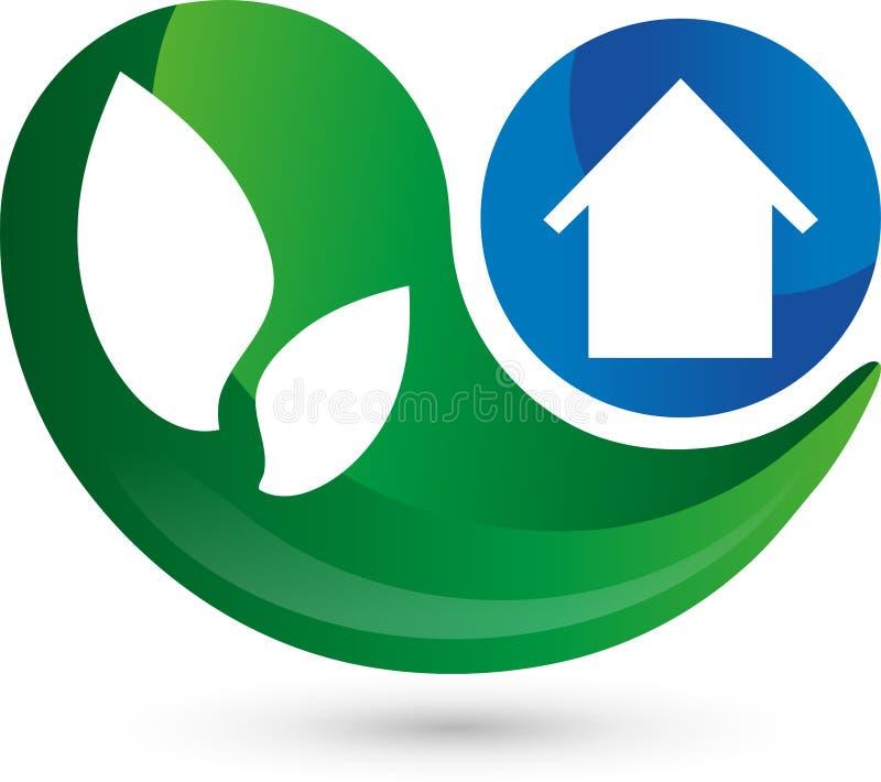 Λογότυπο, τρισδιάστατο, πτώση, σπίτι στο μπλε, φύλλα ελεύθερη απεικόνιση δικαιώματος