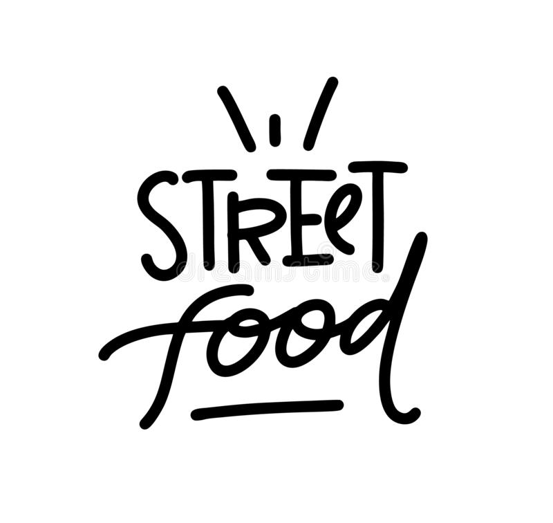 Λογότυπο τροφίμων οδών Συρμένη χέρι διανυσματική εγγραφή Για τις επιλογές, κατάστημα, bbq, φορτηγό, εστιατόριο, καφές, φραγμός διανυσματική απεικόνιση