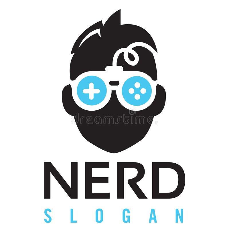 Λογότυπο τυχερού παιχνιδιού Nerd διανυσματική απεικόνιση