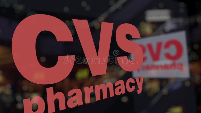 Λογότυπο υγείας CVS στο γυαλί ενάντια στο θολωμένο εμπορικό κέντρο Εκδοτική τρισδιάστατη απόδοση απεικόνιση αποθεμάτων