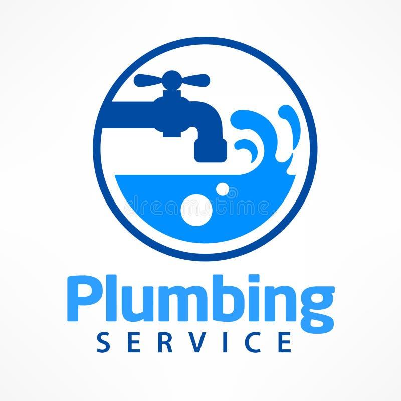 Λογότυπο υπηρεσιών υδραυλικών στο μπλε απεικόνιση αποθεμάτων