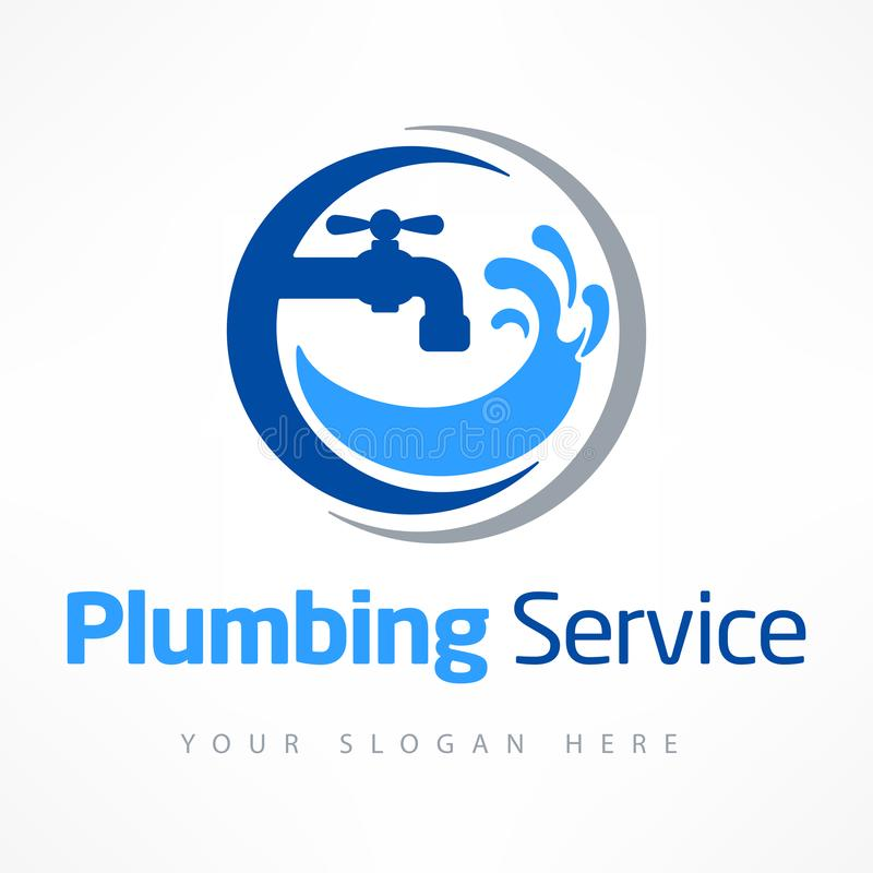 Λογότυπο υπηρεσιών υδραυλικών στο μπλε ελεύθερη απεικόνιση δικαιώματος