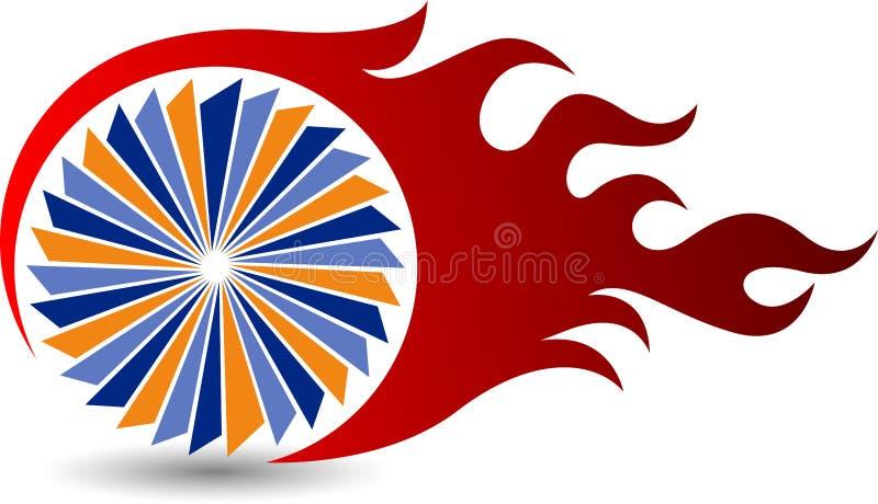 Λογότυπο φλογών ροδών ελεύθερη απεικόνιση δικαιώματος