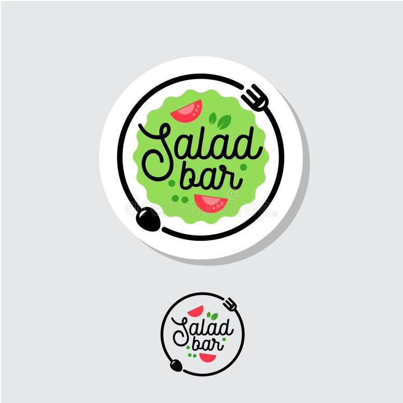 Λογότυπο φραγμών σαλάτας Έμβλημα καφέδων ή εστιατορίων Πιάτο με το δίκρανο, το κουτάλι και τη σαλάτα σε ένα ελαφρύ υπόβαθρο απεικόνιση αποθεμάτων