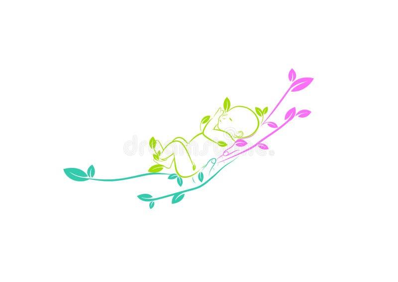 Λογότυπο φροντίδας των παιδιών, parenting σύμβολο, φυσικό εικονίδιο προσοχής μωρών, πράσινο οικογενειακό σημάδι και υγιές σχέδιο  διανυσματική απεικόνιση