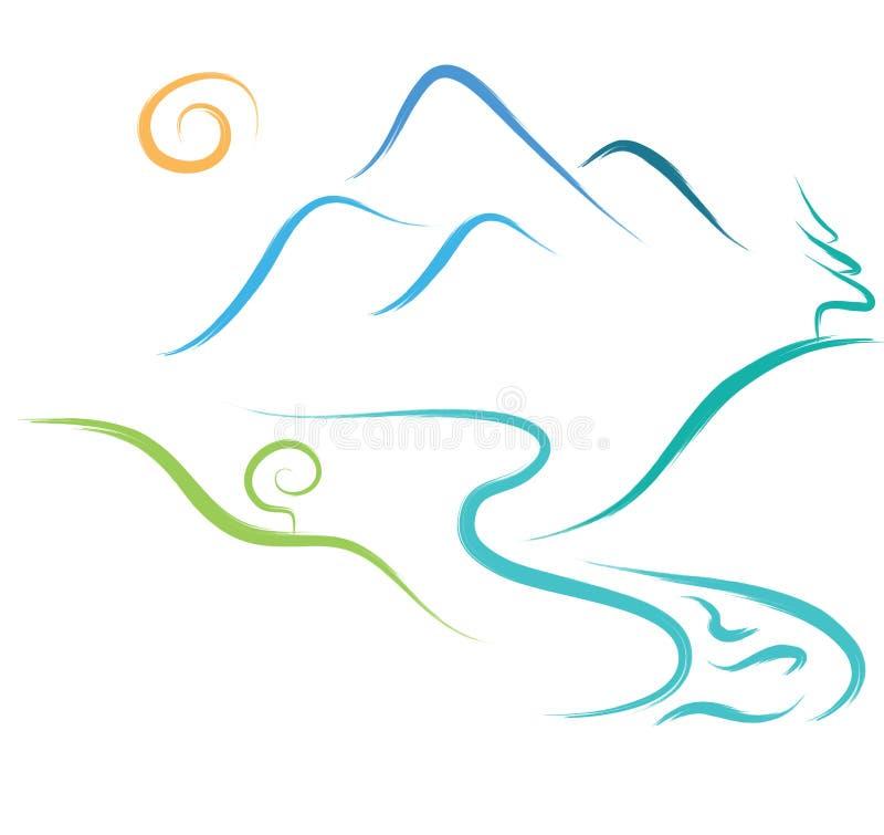 Λογότυπο φύσης βουνών στοκ φωτογραφίες