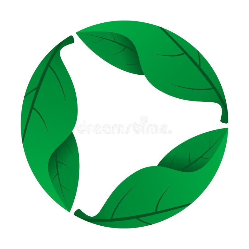 Λογότυπο φύσης - φρέσκα πράσινα φύλλα διανυσματική απεικόνιση